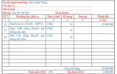Cách viết hóa đơn đối với hàng xuất khuyến mại, hàng mẫu
