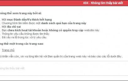 Lỗi 404 và cách kiểm tra