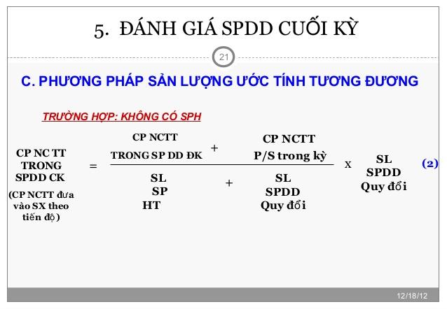 đánh giá SPDD theo khối lượng sản phẩm