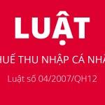 Luật thuế thu nhập cá nhân : Luật số 04/2007/QH12 của Quốc hội – Chương 3,4