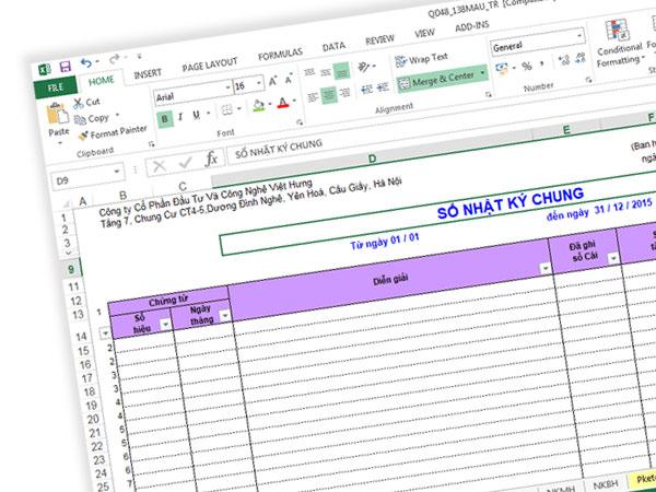 cách ghi sổ nhật ký chung trên Excel
