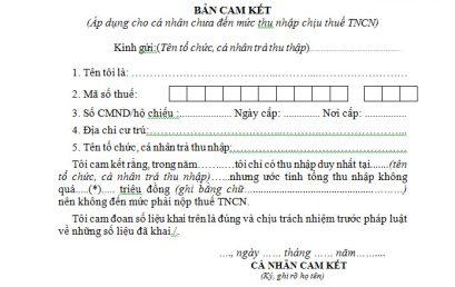 Mẫu bản cam kết mẫu 02/CK-TNCN theo Thông tư 92