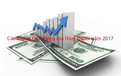 Các khoản thu nhập chịu thuế TNDN năm 2017