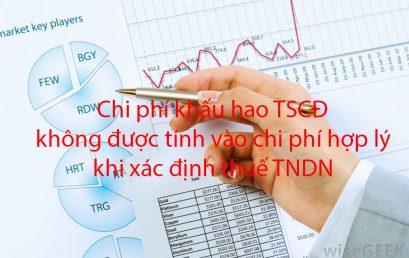 Chi phí khấu hao TSCĐ không được tính vào chi phí hợp lý khi xác định thuế TNDN
