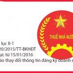 Mẫu phụ lục II-1 theo thông tư 20/2015/TT-BKHĐT