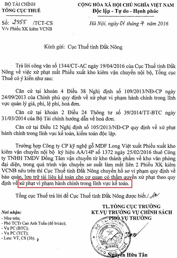 Công văn số 2955/TCT-CS