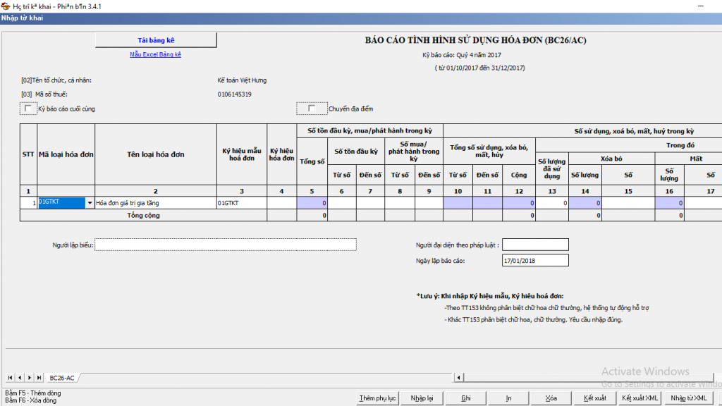 Báo cáo tình hình sử dụng hóa đơn điện tử