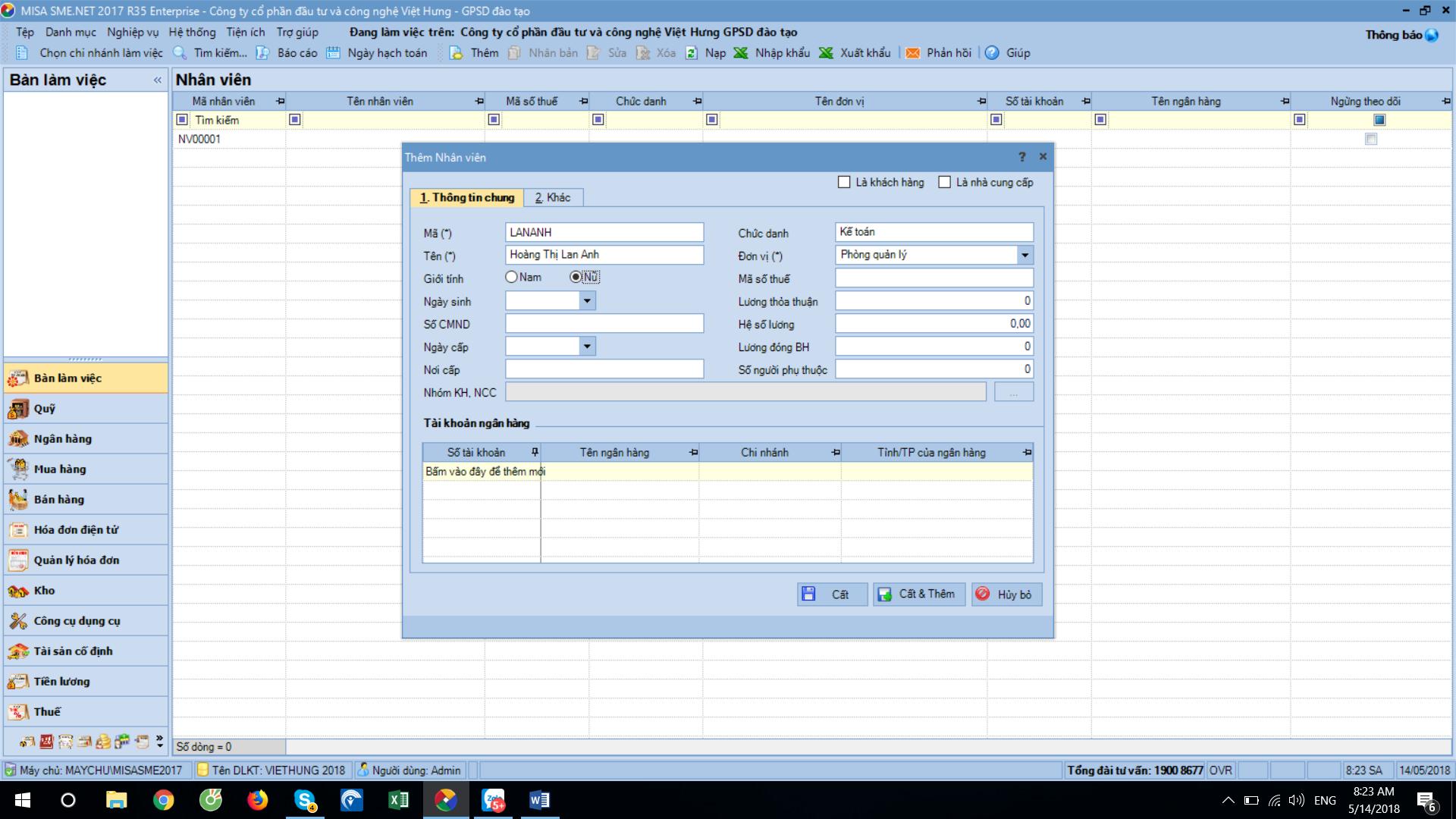 Các bước khai báo thông tin ban đầu trên phần mềm misa