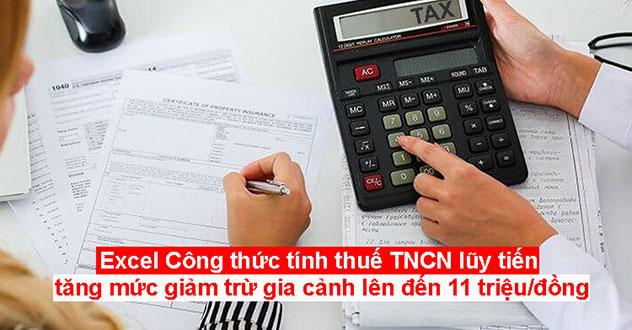 công thức tính thuế tncn lũy tiến