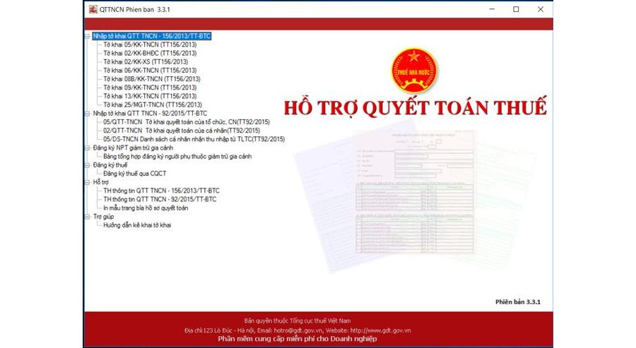Phần mềm đăng ký mã số thuế TNCN, Quyết toán thuế TNCN